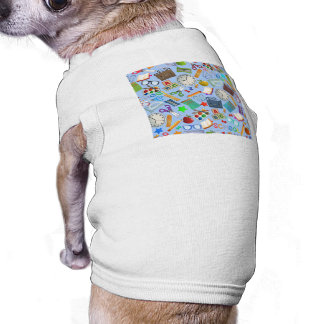 Collage of School Supplies Sleeveless Dog Shirt