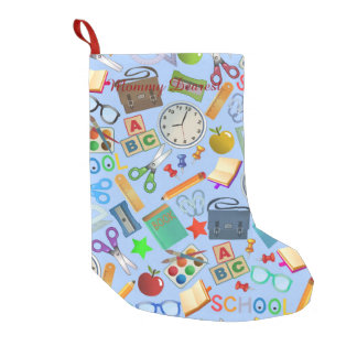 Collage of School Supplies Small Christmas Stocking