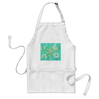 Collage of Seashells Shades of Blue Green Standard Apron