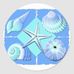 Collage of Seashells Shades of Blue Round Stickers