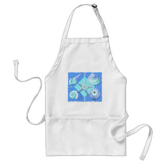 Collage of Seashells Shades of Blue Standard Apron
