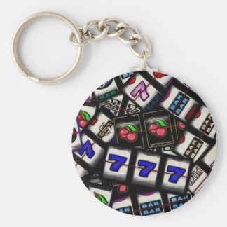 Collage of Slot Machine Reels Basic Round Button Key Ring
