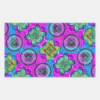 Collage Ornate Geometric Pattern Rectangular Sticker