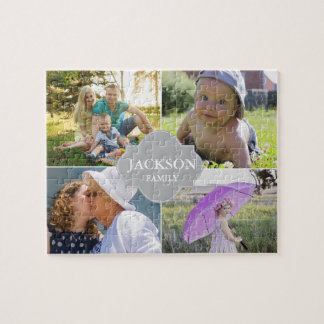 Collage photos with family name, 4 pictures jigsaw puzzle
