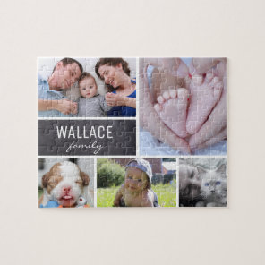 Collage photos with family name, 5 pictures jigsaw puzzle