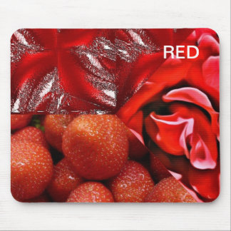 collage red mouse pad