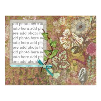 Collage vintage textured photo frame postcard