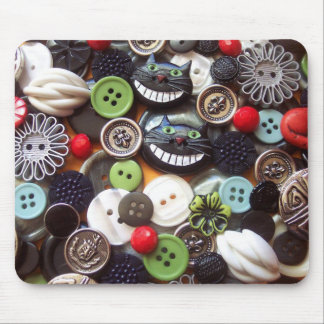 Collage with Black Cheshire Cat Buttons Mouse Mat