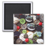 Collage with Black Cheshire Cat Buttons Square Magnet