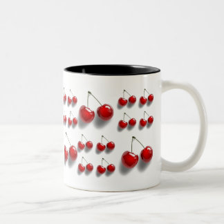 collage with cherries Two-Tone mug