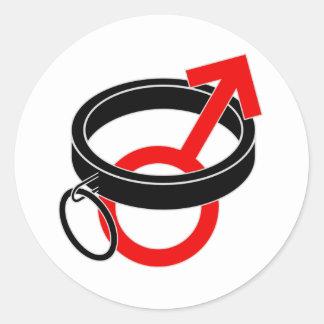 Collared male symbol. round sticker