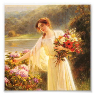 collecting flowers,beautiful lady by Albert Lynch Art Photo
