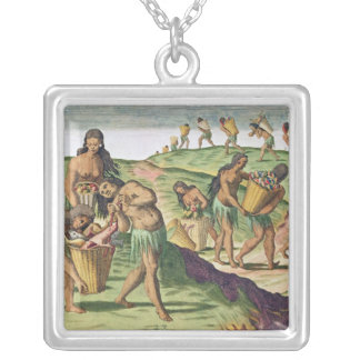 Collecting Food for the Communal Storehouse Silver Plated Necklace