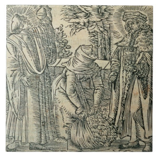 Collecting Herbs for Medicine, 1534 (woodcut) Large Square Tile