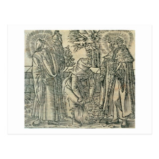 Collecting Herbs for Medicine, 1534 (woodcut) Postcard