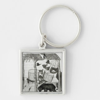 Collecting Honey Silver-Colored Square Key Ring