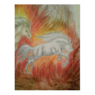 Collection '' Horses and Fire '' Postcard