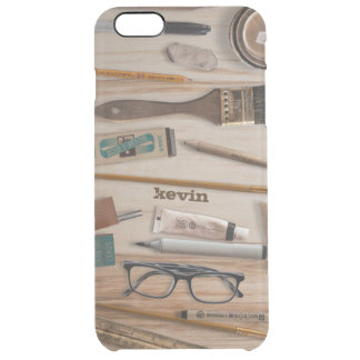 Collection Of Artist Tools On Wood Texture Clear iPhone 6 Plus Case