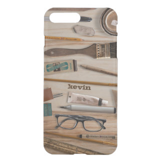 Collection Of Artist Tools On Wood Texture iPhone 7 Plus Case