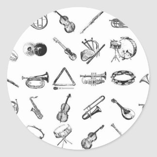 Collection of classical musical instruments round stickers