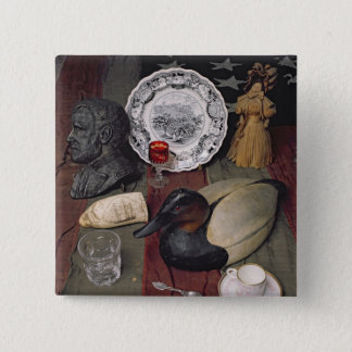 Collection of objects, including a cup 15 cm square badge