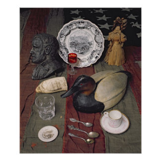 Collection of objects, including a cup poster