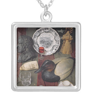 Collection of objects, including a cup silver plated necklace