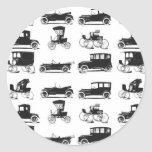 Collection of old and classic cars round sticker