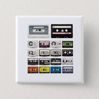 Collection of Retro Audio Cassette Tapes 15 Cm Square Badge
