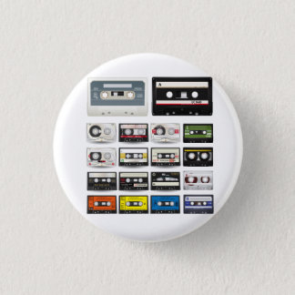 Collection of Retro Audio Cassette Tapes 3 Cm Round Badge