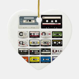 Collection of Retro Audio Cassette Tapes Ceramic Heart Decoration