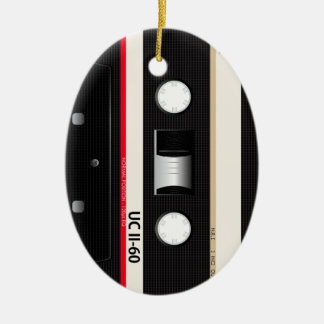 Collection of Retro Audio Cassette Tapes Ceramic Oval Decoration