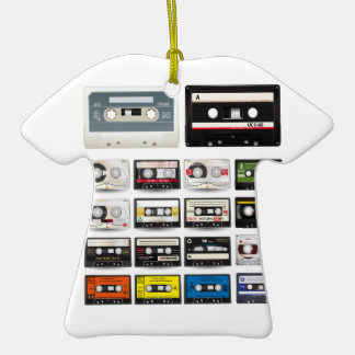 Collection of Retro Audio Cassette Tapes Double-Sided T-Shirt Ceramic Christmas Ornament