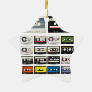 Collection of Retro Audio Cassette Tapes Double-Sided Star Ceramic Christmas Ornament