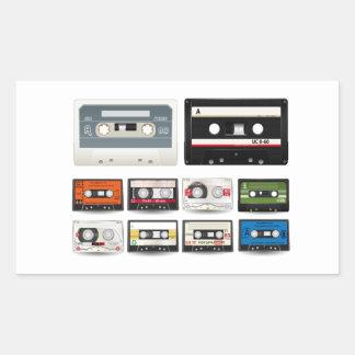 Collection of Retro Audio Cassette Tapes Rectangular Sticker