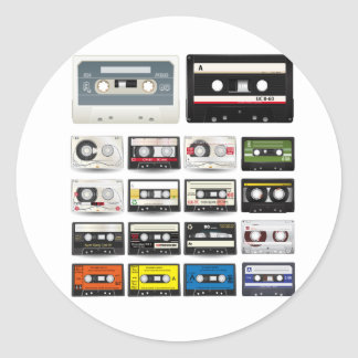 Collection of Retro Audio Cassette Tapes Round Sticker