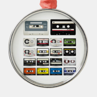 Collection of Retro Audio Cassette Tapes Silver-Colored Round Decoration