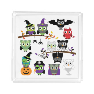 Collection Of Spooky Halloween Owls Acrylic Tray