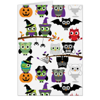 Collection Of Spooky Halloween Owls Card