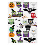 Collection Of Spooky Halloween Owls Greeting Card