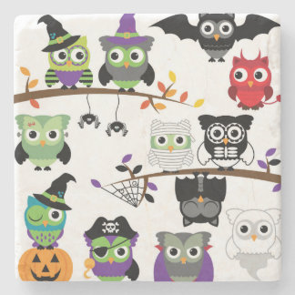 Collection Of Spooky Halloween Owls Stone Coaster
