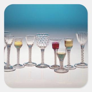 Collection of wine glasses, c.1755-60 square sticker