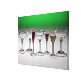 Collection of wine glasses with twist stems canvas print