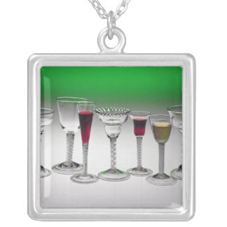 Collection of wine glasses with twist stems custom necklace