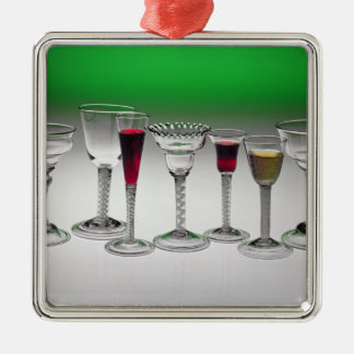 Collection of wine glasses with twist stems Silver-Colored square decoration