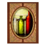 Collector - Bottles - Still life of three bottles Post Card