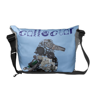 """""""Collector"""" Found-Object Magpie Sculpture Courier Bags"""