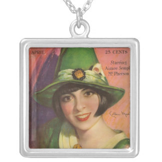 Colleen Moore Magazine Square Pendant Necklace