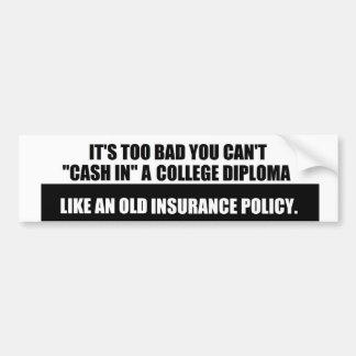 College Diploma sticker Bumper Sticker