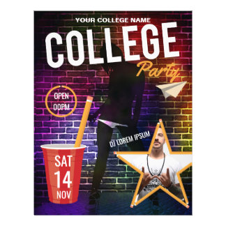 College DJ Party announcement add logo and photos Flyer